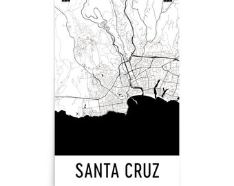 Santa Cruz Map, Santa Cruz Art, Santa Cruz Print, Santa Cruz CA Poster, Santa Cruz Wall Art, Map of Santa Cruz, Santa Cruz Gift, Decor, Map