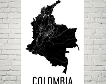 Colombia Map, Map of Colombia, Colombia Art, Colombia Print, Colombia Wall Art, Colombia Poster, Colombian Gifts, Colombian Decor, Art Print