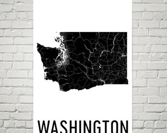 Washington State, Washington Map, Washington Art, Washington Print, Washington Wall Art, Sign, Gifts, Decor, Poster, Map of Washington, Home