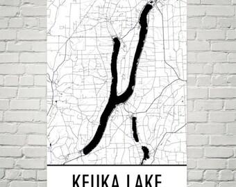 Keuka Lake NY, Finger Lakes, Keuka Lake New York, Keuka Lake Map, Upstate New York Map, Lake Map, Keuka Lake Art, Finger Lake Art, Keuka