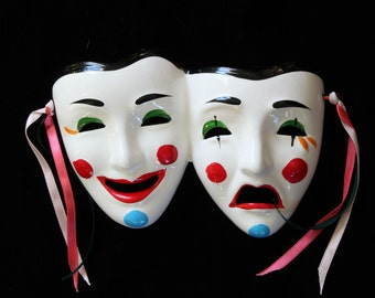 Ceramic Mask Comedy Tragedy Wall Hanging Mask Handpainted