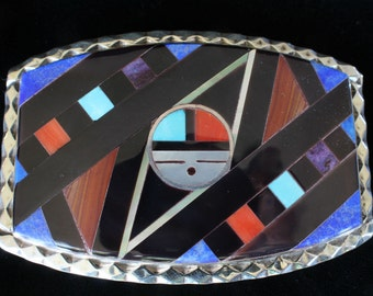 Inlaid Sterling Silver Zuni Belt Buckle Turquoise Coral Onyx Lapis Spiney Oyster Sugililte Mother of Pearl