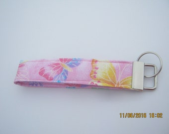 New handmade sparkly butterfly pink wristlet keychain cotton fabric
