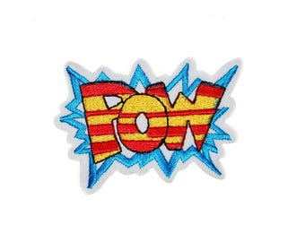 Pow Iron on Patch, Pow Embroidery Applique Iron On Patch