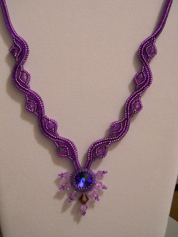 Swarovski Crystal and Purple Crystal Rivoli w/ Silver Plated Clasp