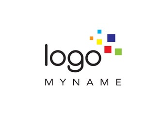 Pre-Made LOGO DESIGN - Customized with Your Name! - Pixel Logo - Primary Colours - Business Logo