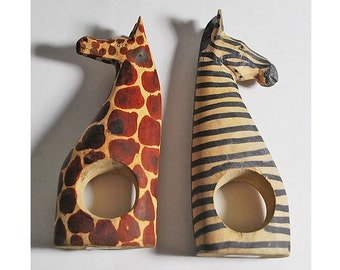 Vintage Hand Carved Wood Kenya Genuine Besmo Product Zebra Giraffe Napkin Holder