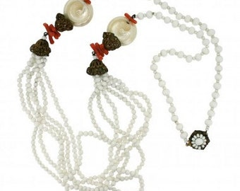Miriam Haskell 1970s Faux Coral and Glass White Vintage Necklace