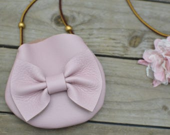 light pink leather bow purse