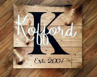 Square Family Name Wood Sign