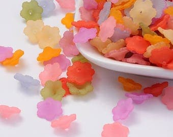 50 pc Mixed Color Frosted Flower Acrylic Beads 11x4.5mm