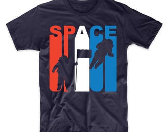 Retro Style Red White And Blue Space Astronaut T-Shirt