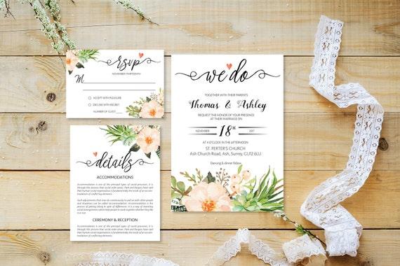 Flower wedding invite_7,Printable Wedding Invitation Suite,Wedding Invite Set,Wedding Printable,Calligraphy