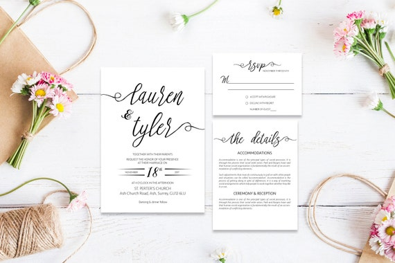 Elegant wedding invite,Printable Wedding Invitation Suite,Wedding Invite Set,Wedding Printable,Calligraphy