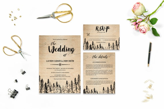 Rustic wedding template invite_4,Printable Wedding Invitation Suite,Wedding Invite Set,Wedding Printable,Calligraphy