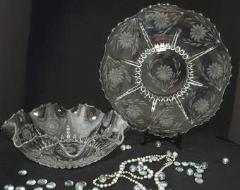 Cornflower Serving Bowl and Platter by W.J. Hughes, Clear Etched Glass, New Martinsville Radiance Crystal ~ Vintage 1930's