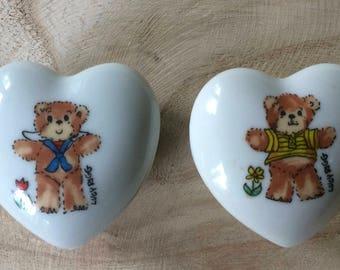 2 - Lucy & Me Small Heart Shaped Trinket Holder / box - Enesco  Rigglets - Sailor Bear / Yellow Shirt Bear