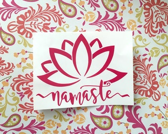 Namaste Lotus Flower Decal - Namaste Decal - Yoga Decal - Flower Decal