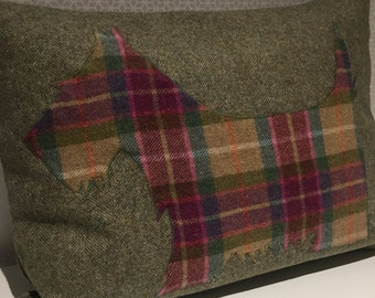 Handmade wool cushion with tweed scottie dog, greens and pinks
