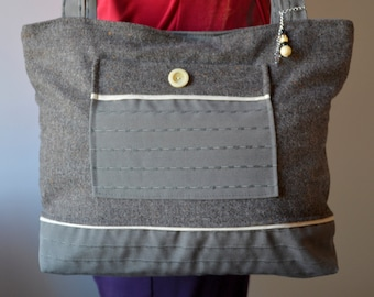 Bag Tote in upholstery fabric and wool tweed - Ref. S28
