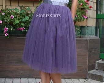 Tulle skirt with matching lining, fixed waistband with hidden zipper (color - 28 Sugar plum)