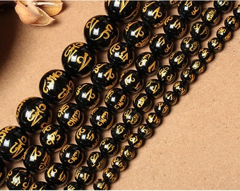 Carved Black agate OM mani padme hum round loose beads strand 16'' 8mm 10mm 12mm 14mm