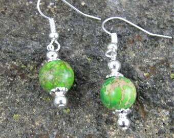 Lime Green Bead Earrings, Dangle Dyed Sea Jasper with Silver Accents, Veined Stone BoHo Earrings, Bohemian Jewelry