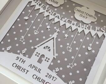 Personalised Papercut Christening Box Frame- Christening keepsake/gift