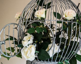 Vintage Silver Birdcage on Stand