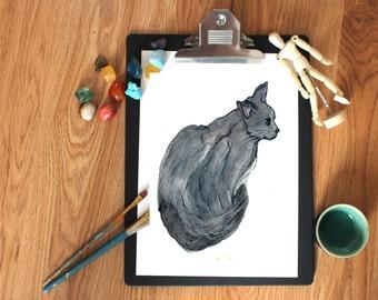 black cat poster - cat lovers gift - home decor - watercolor - wall art - art print