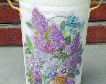 Decoupage Metal Vase. Handpainted Vase. Painted Vase. Lilacs. Lilac Pattern on Metal Vase. Tall Metal Vase.