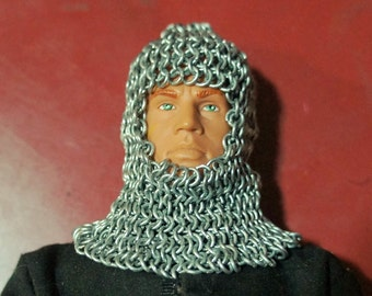 1/6 Scale Miniature Armour - chainmail coif for 12 inch action figure
