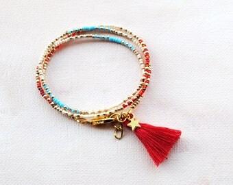 Boho Tassel Bracelet ,Seed bead Friendship bracelet, stackable bracelet, Delicate Thin Boho Bracelet Wrap bracelet layered bracelet blue red