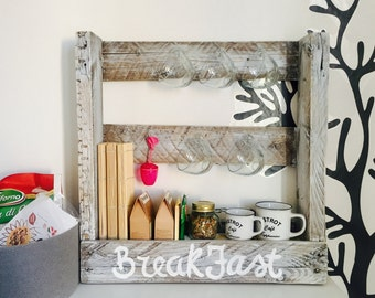 Pallet shelf wooden kitchen furniture Breakfast