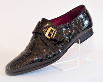 Bally Black Patent Leather Flat Brogues with Crocodile Pattern and Gold Buckle/Flat Heel Brogues/Retro Shoes/Vintage Shoes/Size UK 5/1980's