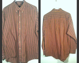 Vintage Button Up Shirt | Vintage Shirt | Button Down Shirt | 70s Plaid Button Up |Vintage Plaid Shirt |Gift for Him -Size XL