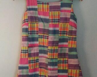Patchwork// BoHo// Vintage// 1960's// Summer// Preppy// Tank// Dress