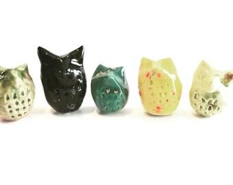Owl - Animal Figurine - Terrarium Figurine - Ceramic Sculpture - Hand built Stoneware