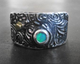 Silver Paisley Black Opal Ring