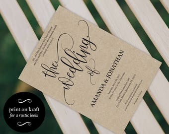 Wedding Invitation Template - Rustic Wedding Invitation - Wedding Invite - The Wedding of - Print on kraft - Downloadable wedding #WDH812131