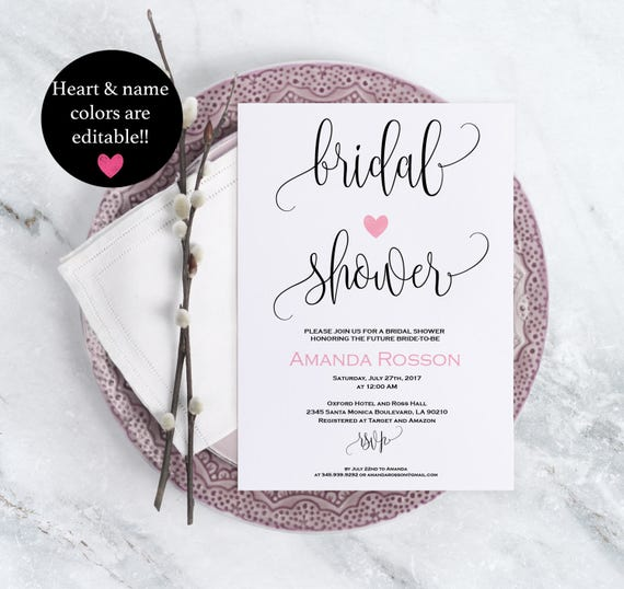 Bridal Shower Simple Rustic Wedding Invitation Pink Blush Print on Kraft Calligraphy Wedding Editable Text Downloadable Wedding #WDH875747
