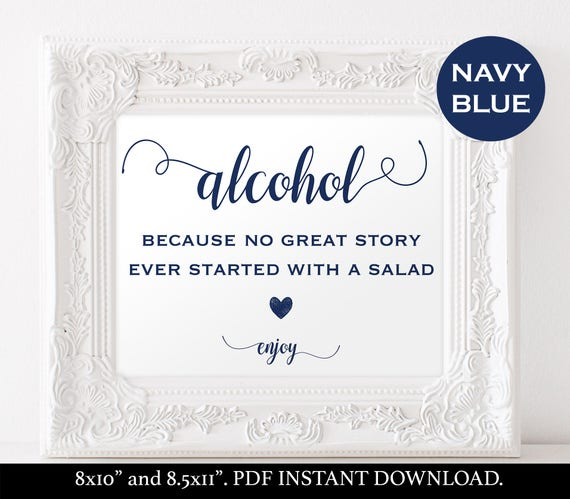 Alcohol sign instant download