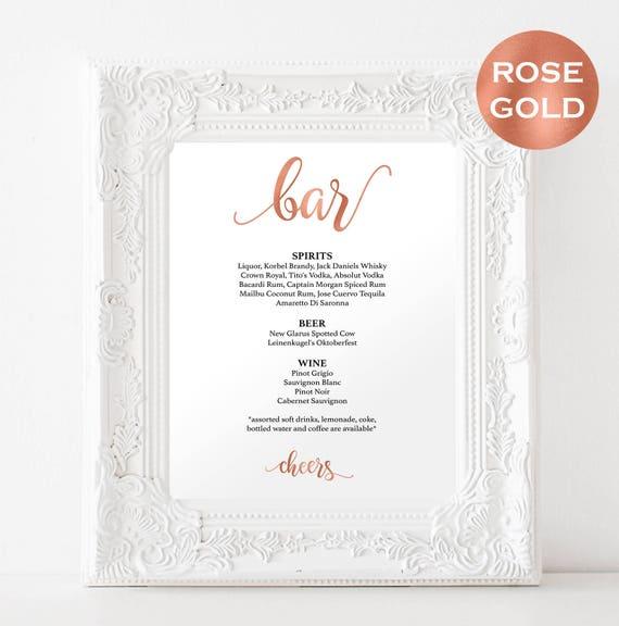 DIY Wedding Bar Menu Printable Sign