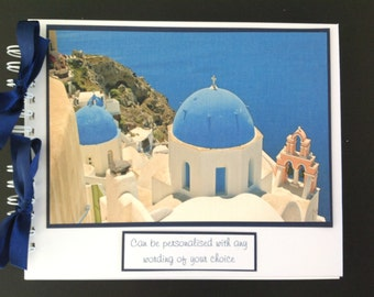 "Personalised GREECE Holiday Travel Photo Album - Scrapbook - Memories Book - Photo Book 10"" x 8"""