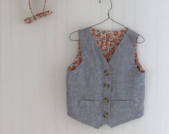handmade vest and bow tie for little boys, wedding, made-to-order, custom