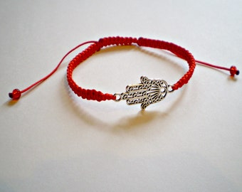 Amulet Hamsa Hand of Fatima Charm Bracelet red bracelet with hand amulet Red String Kabbalah Red String Protection friendship bracelet