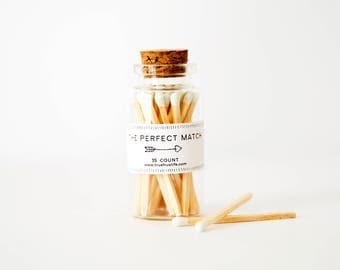 The Perfect Match set of matches, 35 count, white tip matches, match bottle, match vial, glass container, Wedding