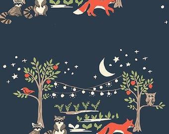 Navy Organic Woodland Cotton Fabric - Monaluna Fabrics -Modern ,Woodland ,Fox-Baby,Nursery