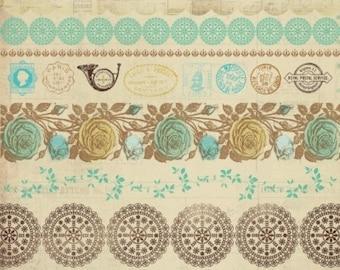 Border Stickers, Kaisercraft, Madame Boutique, Mandalas, Vintage, Roses, Vines, Postmarks