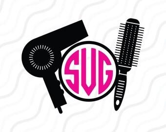 Hairdresser  SVG, Salon SVG, Hairdresser Monogram SVG Cut table Design,svg,dxf,png Use With Silhouette Studio & Cricut_Instant Download